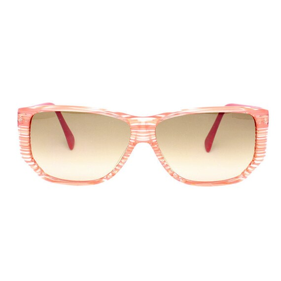 Pink Vintage Sunglasses - Bonaire Lux Rosa - 1980's transparent striped sun glasses for women