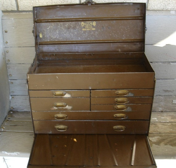 Kennedy Tool Box >> Antique Kennedy Machinist's 7 Drawer Tool Chest