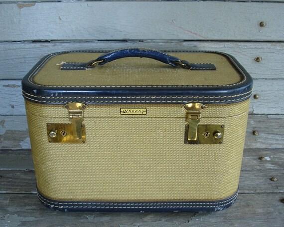 vintage wheary tweed train case