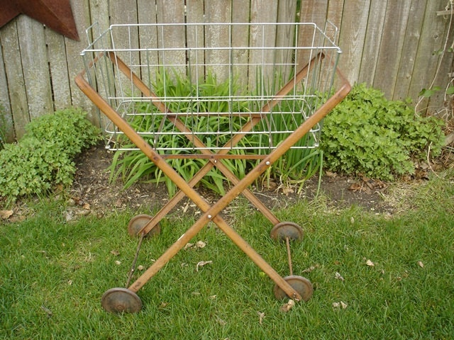 Vintage Metal Rolling Laundry Cart Wire Basket