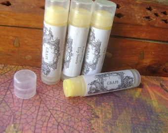 Grape Lip Balm, Natural Beeswax Balm with Jojoba