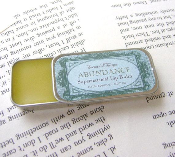 All Natural Vanilla Mint Lip Balm, .25 oz Tin, Abundance Supernatural Lip Balm,