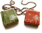 Dandelion Wish Scrabble Tile Necklace Hand Painted in Coral Pink or Olive Green, Nature Inspired Bohemian Jewelry