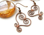 Rustic Wire Heart Earrings Copper Wire Wrapped - Swirly Heart CLEARANCE SALE
