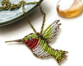 Brass Wire Hummingbird Necklace OOAK - Oliver the Ruby Throated Hummingbird
