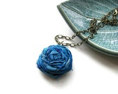 Shabby Chic Single Silk Rosette Necklace in Peacock Blue and Antique Brass Chain - Romantic Rosette - heversonart