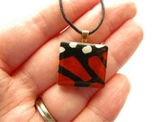 Monarch Butterfly Scrabble Necklace Hand Painted Butterfly Wing on Vintage Scrabble Tile - heversonart