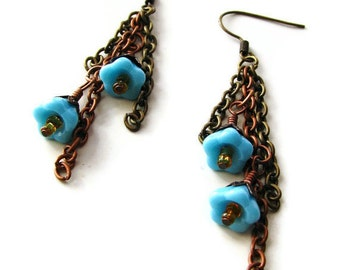 Bohemian Glass Flower Chain Earrings Copper and Brass In Blue, Pink or Silver, Nature Inspired Jewelry CLEARANCE SALE