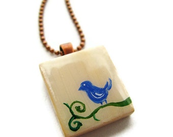 Happy Bluebird Scrabble Tile Necklace Hand Painted in Pale Yellow CLEARANCE SALE