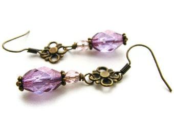 Purple Amethyst Luster Czech Glass Earrings in Victorian Style - Amethyst Crystal