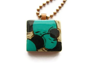 Abstract Circles Scrabble Necklace in Teal and Brown Hand Painted - Bubbles CLEARANCE SALE
