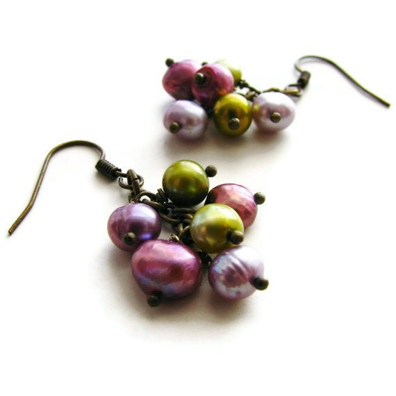 Bohemain Pearl Cascading Cluster Earrings in Purple Mauve and Olive Green Nature Jewelry - Orchid Petals