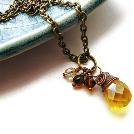 Yellow Citrine Briolette Necklace Antique Brass and Copper Wire Wrapped - Honey Drop