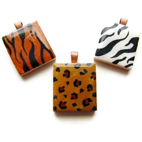 Animal Print Necklace Hand Painted Scrabble Tile in Zebra Leopard or Tiger - Wild Side CLEARANCE SALE