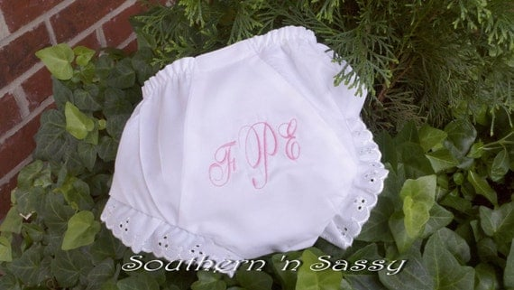 White Personalized Baby Bloomers