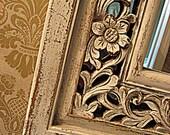 Vintage Cottage Chic Mirror, Frilly Botanical