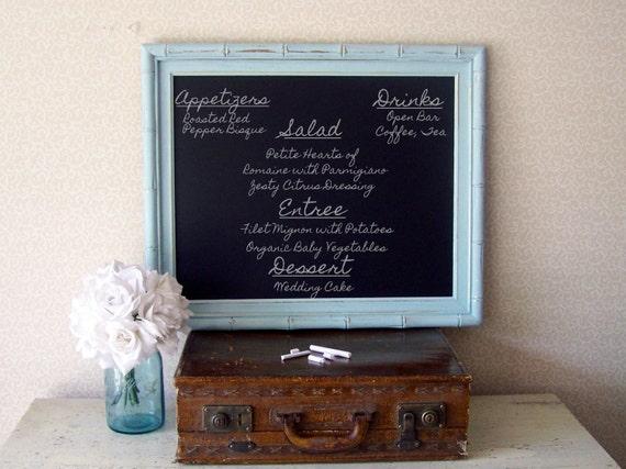 Beach Wedding Chalkboard,  Shabby Chic Blue