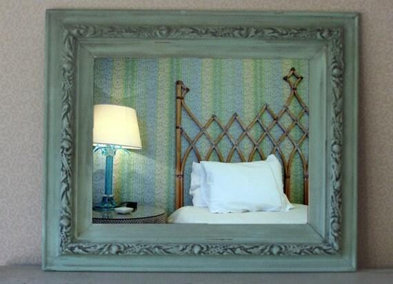 Vintage Cottage Chic Mirror, Aqua Shabby Chic Mirror