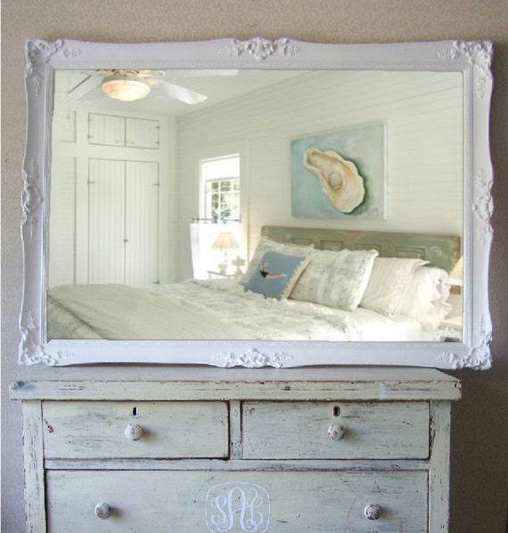 Vintage Beach Cottage Mirror, Huge Shabby Chic Mirror