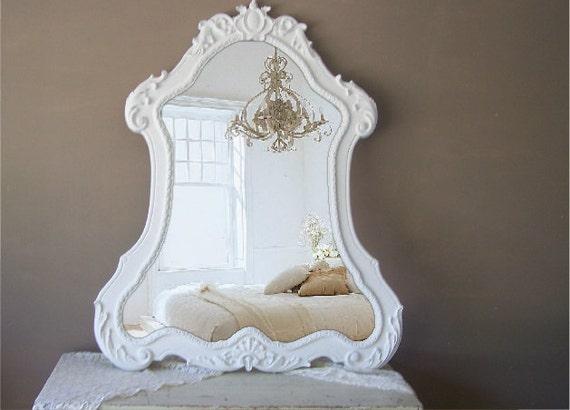Curvy French provencal Mirror, XLWhite Baroque, Shabby