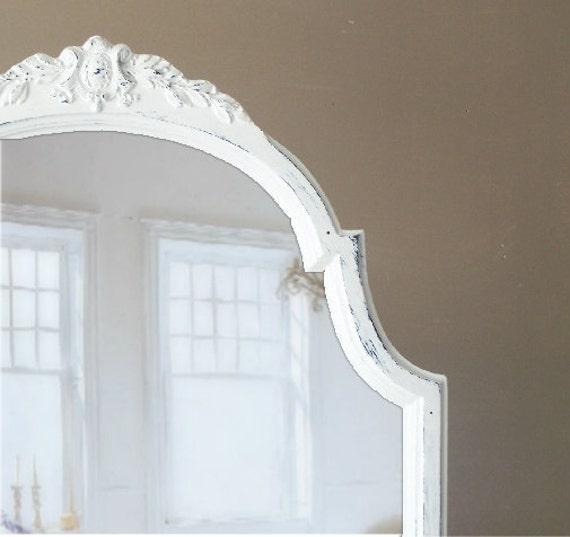 Leaning Mirror, Full length, Shabby Chic White, Wood