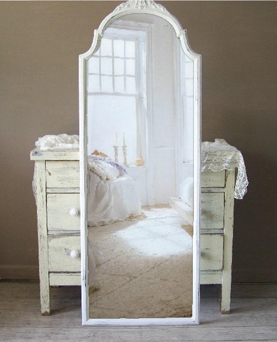 Leaning mirror full length shabby chic white wood for White framed floor length mirror