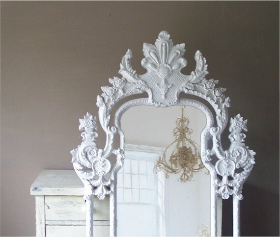 Vintage rococo mirror baroque shabby chic huge leaning for Baroque resin mirror