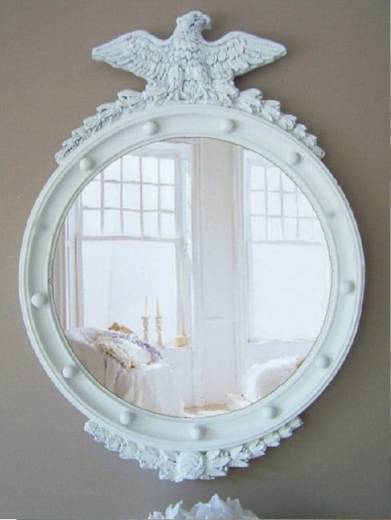 Antique Neoclassical Federal Design Mirror, Shabby Chic, Farm House White
