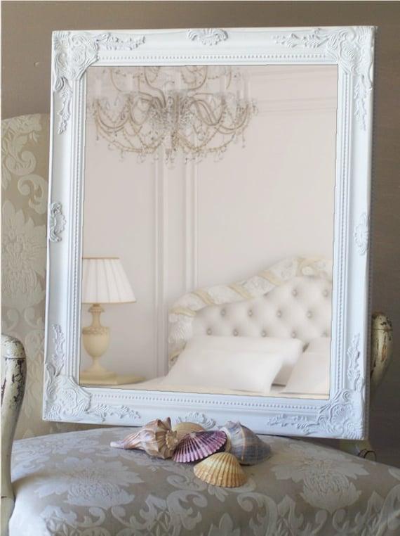 Decorative Framed Mirror, Shabby Chic White, Ornate Design