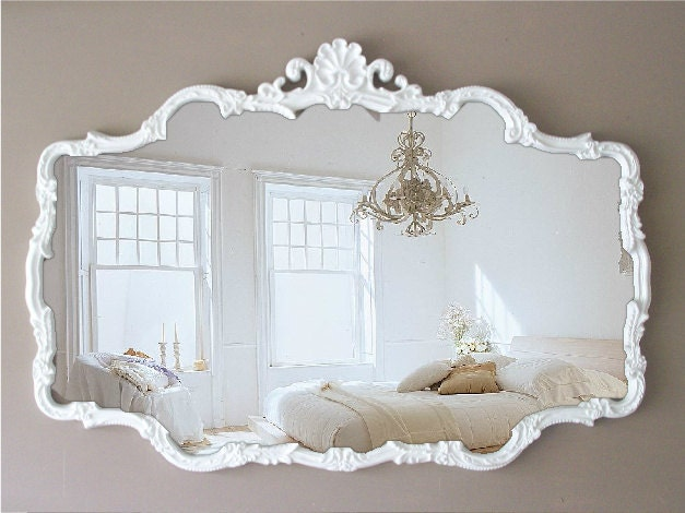 vintage cottage chic mirror huge shabby chic by smallvintageaffair. Black Bedroom Furniture Sets. Home Design Ideas