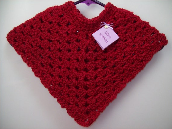 Snuggly Poncho - Candy Apple Red - Age 2 to 3 Years