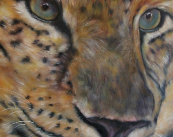 "Leopard wildlife animal cat original art oil painting on 9"" x 12"" professional artist board by Sandra Cutrer Fine Art"