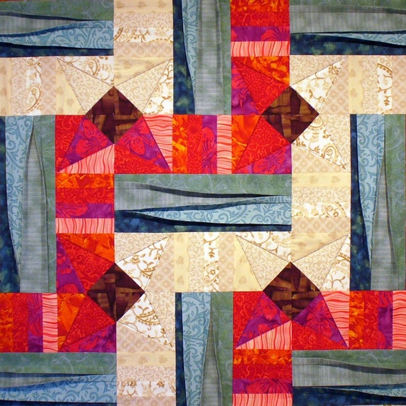 Sand, Sea and Sun Patchwork Quilt Block Pattern