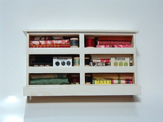Dollhouse Miniature Sewing Supply Cabinet Hutch 9