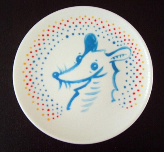 OOAK Handpainted Little Blue Nom Porcelain Plate - Pet Rat - Fancy Rat - Love Peace Friendship