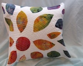 Batik Rainbow Flower Quilted Pillow Cover  18 x 18 inch