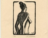 Female Nude Woodcut Woodblock