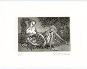 Night Flowers / Intaglio / Etching / Female Model / Reclining / Female Beauty / Bouquet / White Flowers / Printmakingt