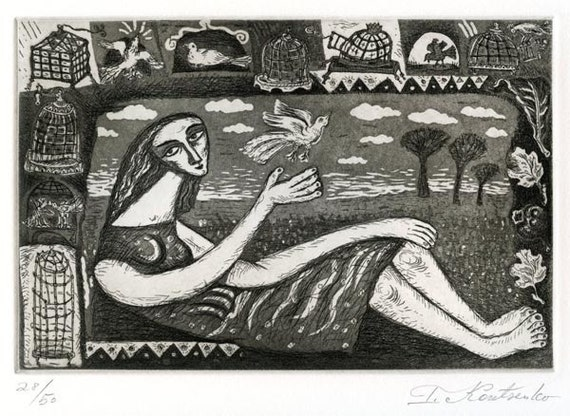 Bird lover , original Intaglio, Etching and Aquatint on Rives BFK white paper