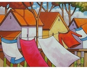 PAINTING ORIGINAL Folk Art Red Shirt Windy Clothesline Cottage Trees Modern Landscape Color Abstract Artwork by Cathy Horvath Buchanan 12x16