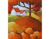 ORIGINAL PAINTING Folk Art Fall Fields Pumpkins Colorful Modern Autumn Abstract Artwork by Catherine Horvath Buchanan 11x14