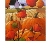 PAINTING ORIGINAL Folk Art Pumpkins Poppies Cottage Fields Modern Landscape Colorful Abstract Artwork by Cathy Horvath Buchanan 11x14