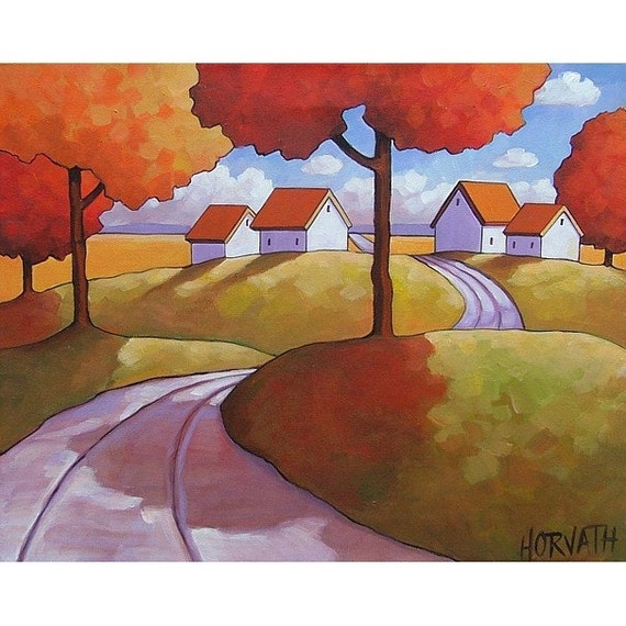 PAINTING ORIGINAL Abstract Folk Art Modern Road Autumn Landscape Colorful Contemporary Fine Artwork by Catherine Horvath Buchanan 16x20
