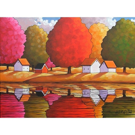 Original Painting Abstract Folk Art Modern Cottage Trees Water