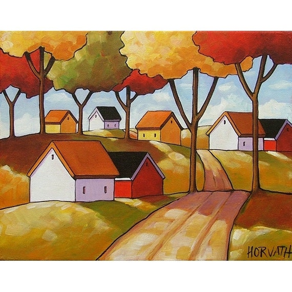 PAINTING ORIGINAL Folk Art Abstract Fall Roadway Cottages Modern Landscape Autumn Colorful Fine  Artwork by Cathy Horvath Buchanan 11x14