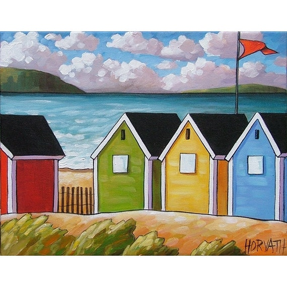 PAINTING ORIGINAL Folk Art Abstract Beach Huts Modern Landscape Colorful Contemporary Fine Artwork by Cathy Horvath Buchanan 11x14