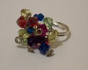 Swarovski Rainbow Cluster Ring