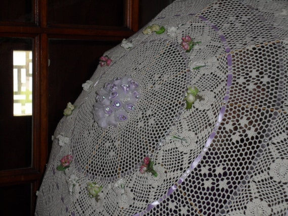 Victorian Style Handmade Parasol with Floral and Ribbon Accents