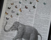 Elephant Butterfly A HHP Original Design Ellie the Elephant with her Butterflies Print on a Vintage Dictionary Book Page 8 x 10