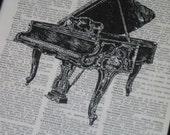 BOGO SALE Upcycled Dictionary Art Print Piano on Vintage Dictionary Book Page Print